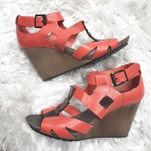 Clarks Leather Wedge Sling Back Strappy Sandals 6